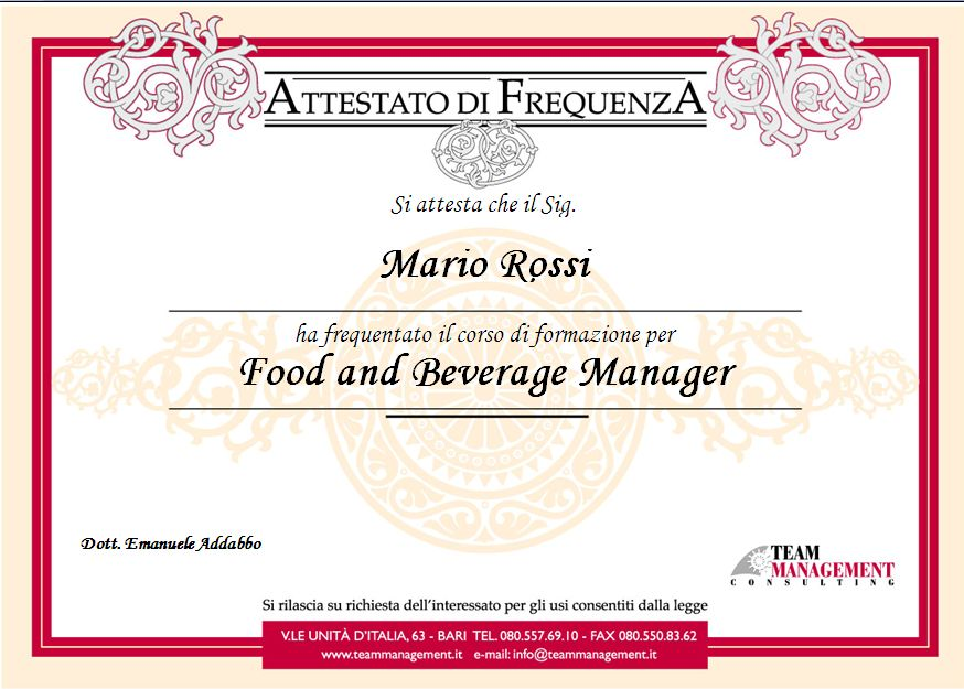 Food And Beverage Manager Corso Attestato CV Curriculum Vitae Valido Stato